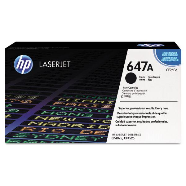 HP 647A, (CE260A) Black Original LaserJet Toner Cartridge