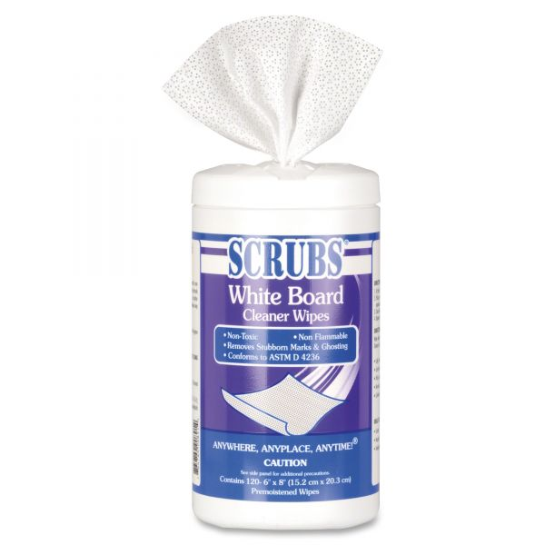 SCRUBS White Board Cleaner Wipes, Cloth, 8 x 6, White, 120/Canister