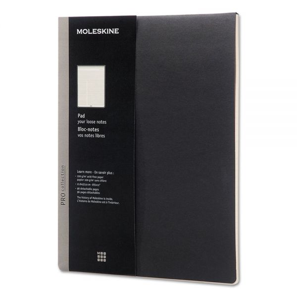 Moleskine Professional Pad, Ruled, 8 1/2 x 11, Black, 96 Sheets
