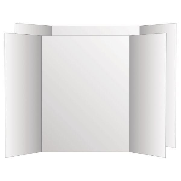 Eco Brites Two Cool Tri-Fold Poster Board, 36 x 48, White/White, 6/Carton