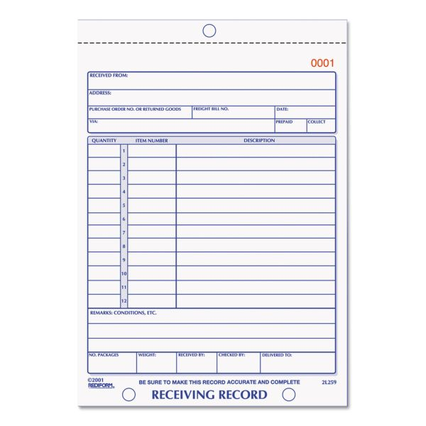 Rediform Receiving Record, 5-1/2 x 7-7/8, Carbonless Duplicate, 50 Sets/Book