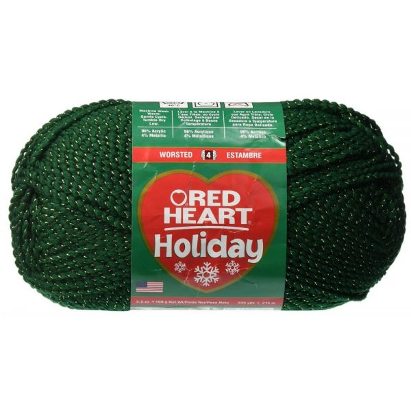Red Heart Holiday Yarn - Hunter W/Gold Metallic