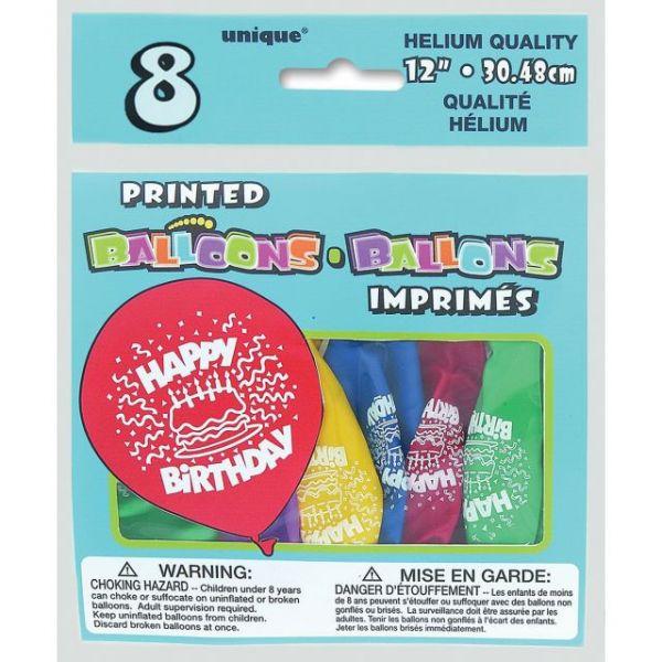 "Printed Balloons 12"" 8/Pkg"