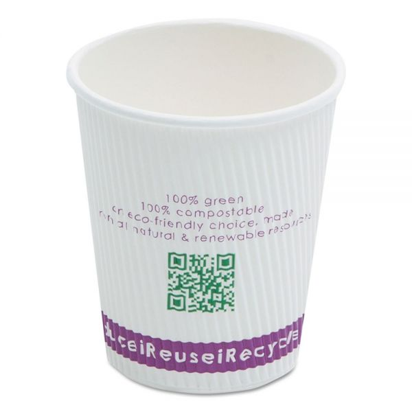 NatureHouse Compostable Ripple-Grip 8 oz Paper Coffee Cups
