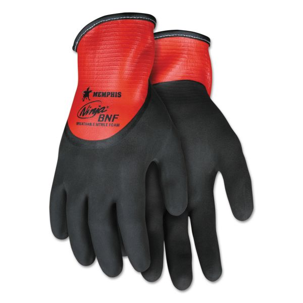 Memphis Ninja N96785 Full Nitrile Dip BNF Gloves, Red/Black, Large, 1 Dozen