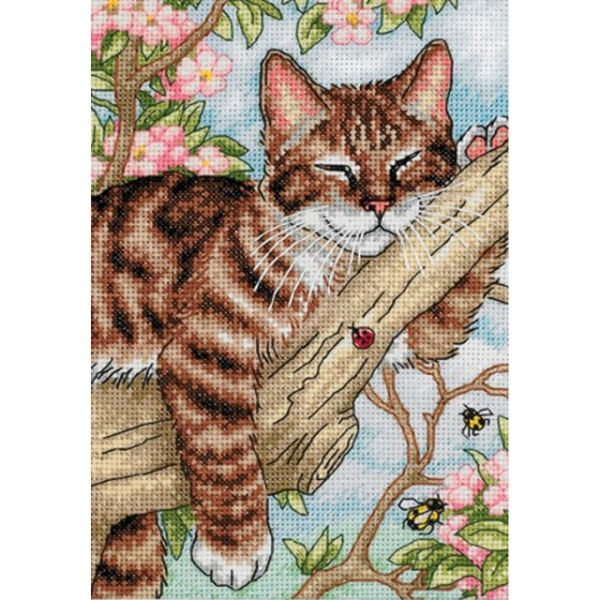 Gold Petite Napping Kitten Counted Cross Stitch Kit