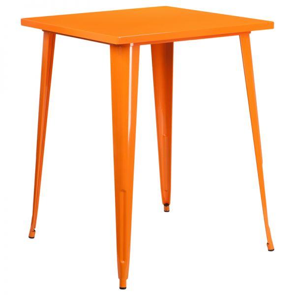 Flash Furniture 31.5'' Square Bar Height Orange Metal Indoor-Outdoor Table