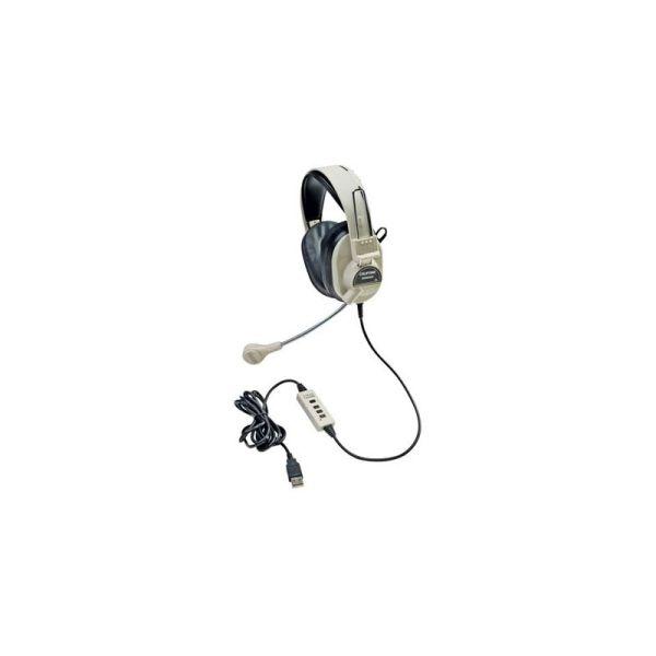 Califone Deluxe Stereo Headphone W/ Boom Mic USB Via Ergoguys