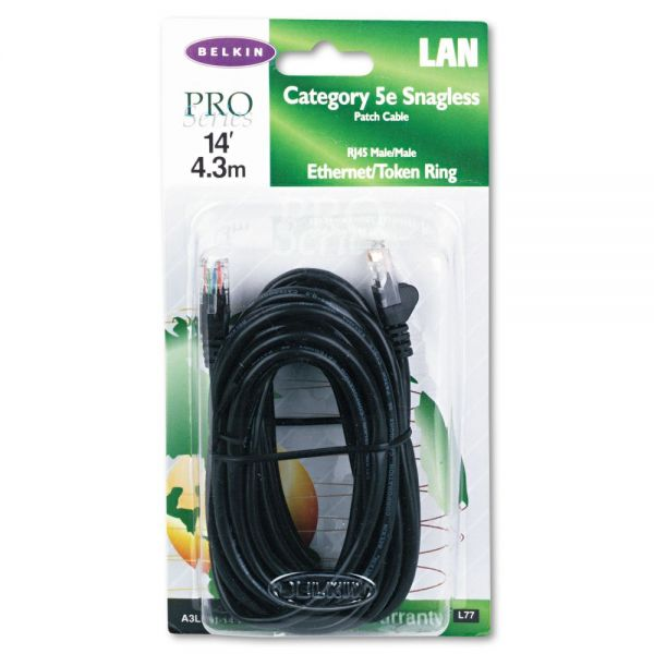 Belkin Cat5e 10/100 Base-T Patch Cable, Snagless, 14ft, Black