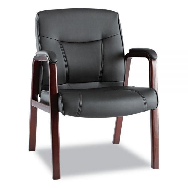 Alera Madaris Series Leather Guest Chair w/Wood Trim