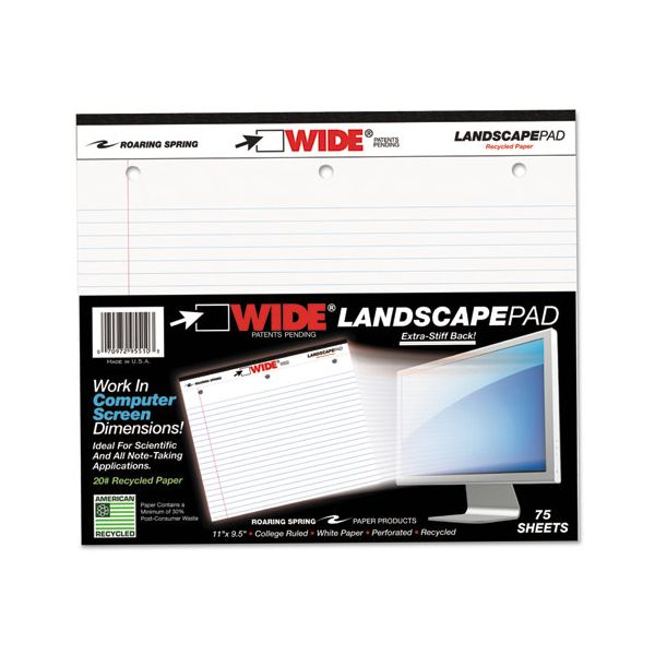 Roaring Spring WIDE Landscape Format Writing Pad, College Ruled, 11 x 9 1/2, White, 75 Sheets
