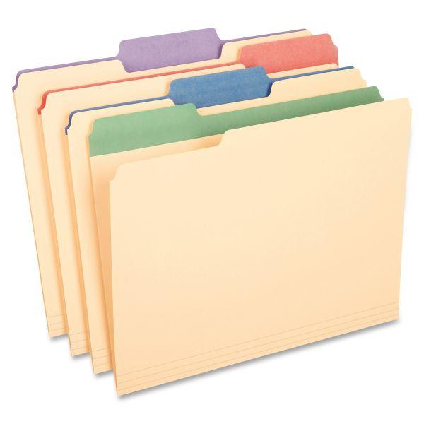 Pendaflex Manila File Folders w/Assorted Color Tabs