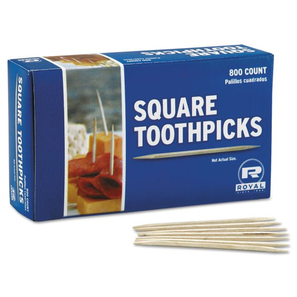Royal Square Wood Toothpicks