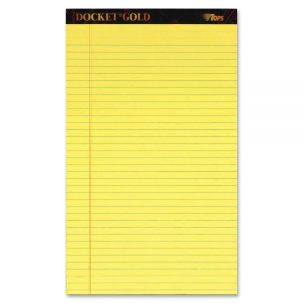 TOPS Docket Gold Legal Rule Canary Writing Tablet - Legal