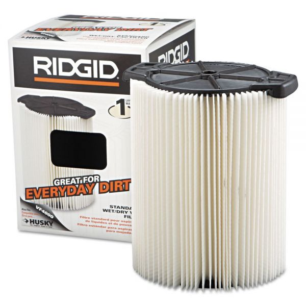 RIDGID Standard Pleated Paper Vacuum Filter, For 5 to 20gal Wet/Dry Vacs
