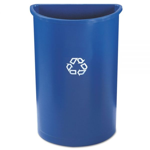 Rubbermaid Commercial Half-Round Recycling Container, Plastic, 21 gal, Blue