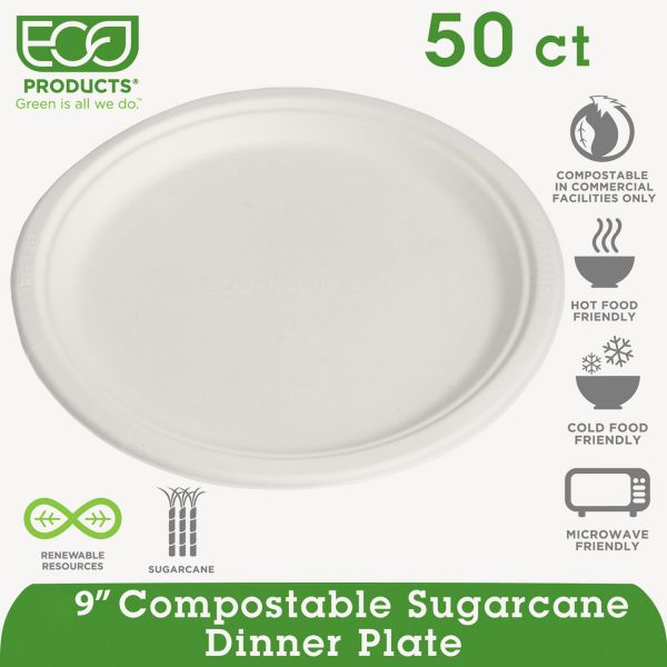 "Eco-Products Compostable 9"" Bagasse Plates"