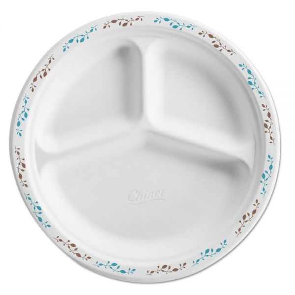 "Chinet Molded Fiber Plate, 10 1/4"", 3-Comp, White w/Vine Theme, 500/Carton"