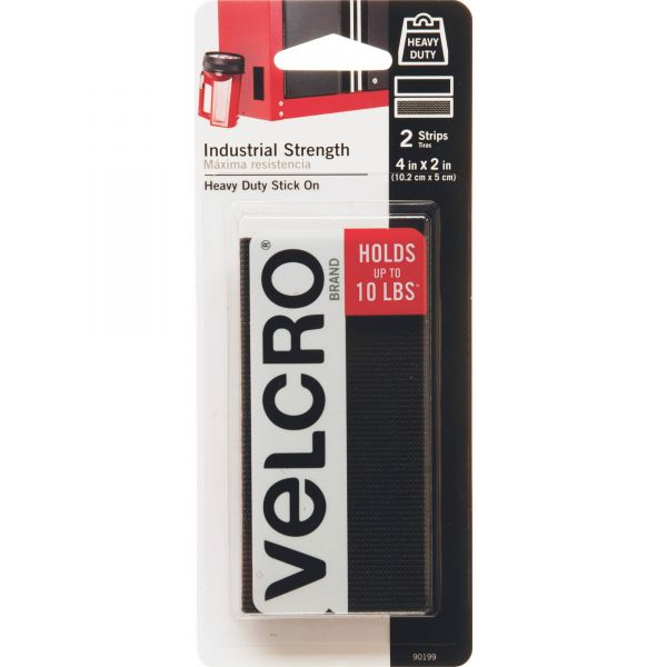Velcro Industrial Strength Sticky-Back Hook & Loop Fastener Strips, 4 x 2, Black 2 to a pk