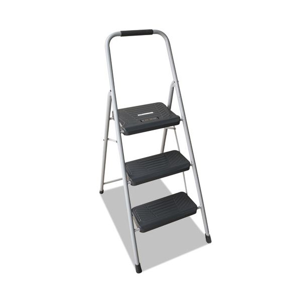 Louisville Black and Decker Steel Step Stool, Three-Step, 200 lb Cap, Gray