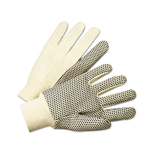 Anchor Brand PVC-Dotted Canvas Gloves, White, One Size Fits All, 12 Pairs