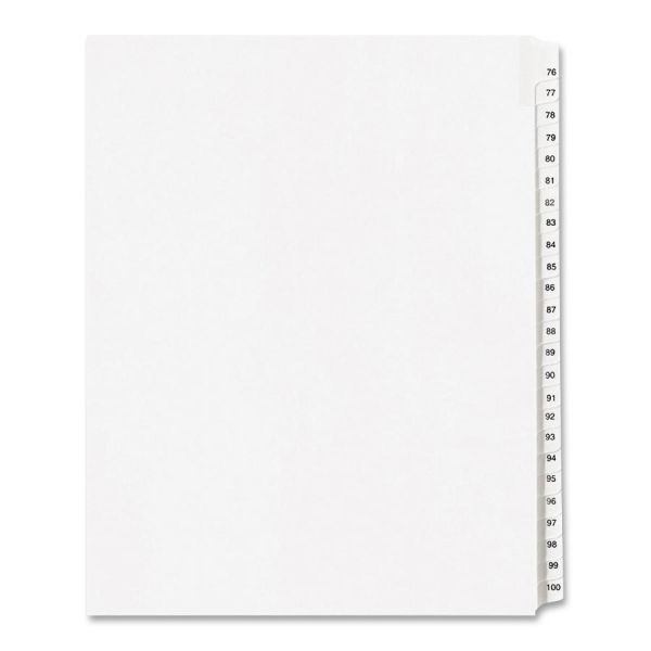 Avery Allstate-Style Legal Exhibit Side Tab Dividers, 25-Tab, 76-100, Letter, White