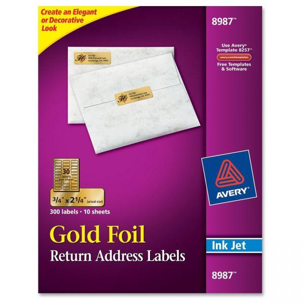 Avery 8987 Gold Foil Return Address Labels