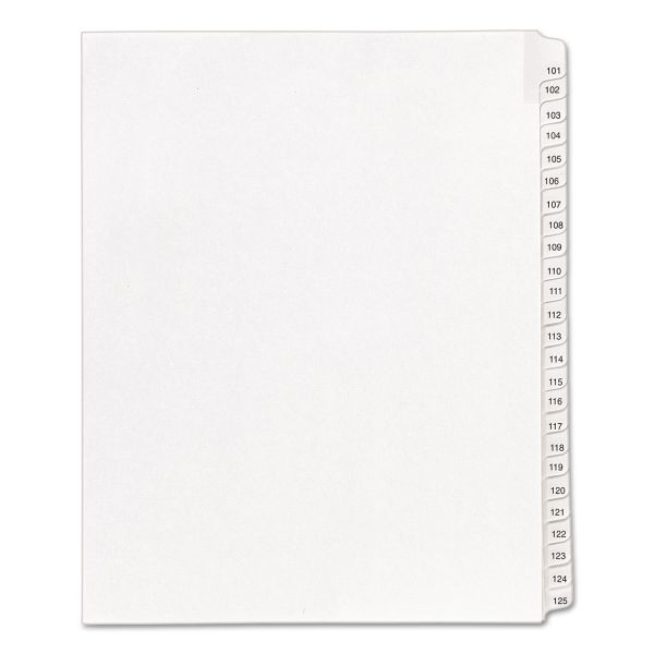 Avery Allstate-Style Legal Exhibit Side Tab Dividers, 25-Tab, 101-125, Letter, White