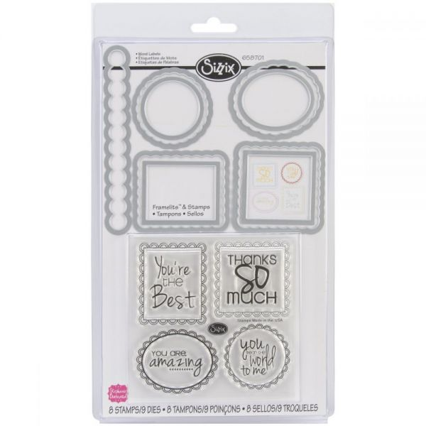 Sizzix Framelits Dies 9/Pkg W/Clear Stamps