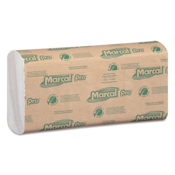 Marcal PRO 100% Recycled Folded Paper Towels, 10 1/2x12 3/4,C-Fold, White,150/Pk, 16 Pks/Ct