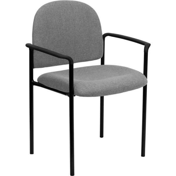 Flash Furniture Gray Fabric Comfortable Stackable Steel Side Chair with Arms