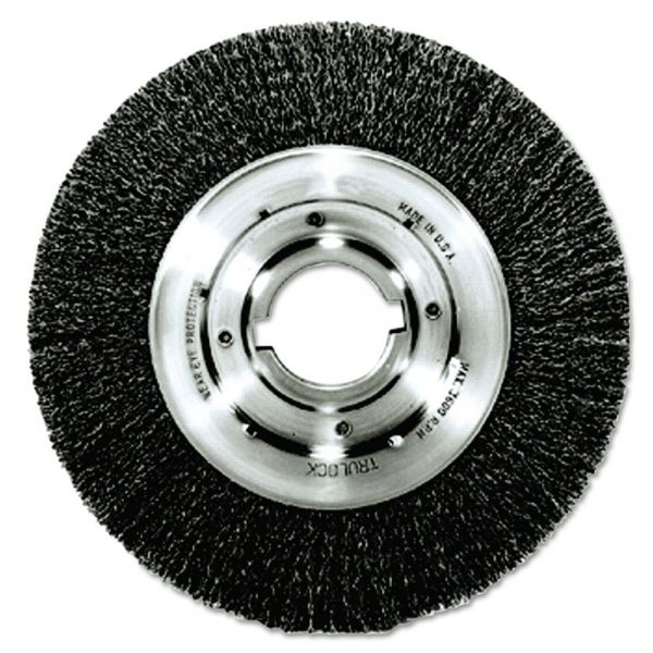 "Weiler Trulock TLN-8 Narrow-Face Crimped Wire Wheel, 8"" dia, .014 Wire, Arbor Dia: 2"""