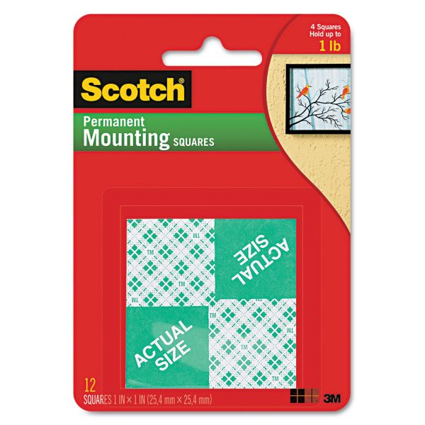 Scotch Precut Foam Mounting 1 Squares, Double-Sided, Permanent 16/Pack