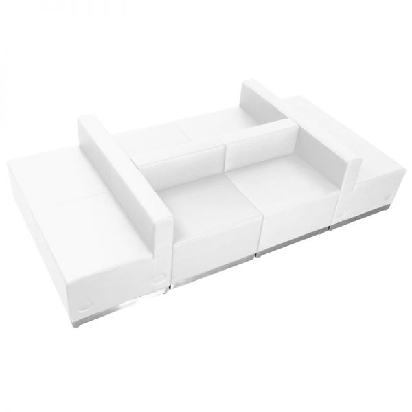 Flash Furniture HERCULES Alon Series White Leather Reception Configuration, 6 Pieces