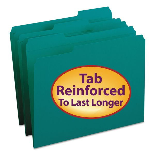 Smead File Folders, 1/3 Cut, Reinforced Top Tab, Letter, Teal, 100/Box