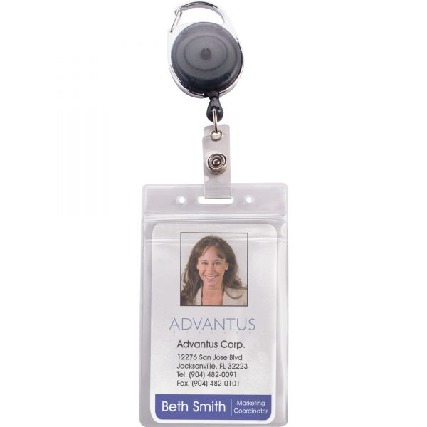 Advantus Resealable ID Badge Holder, Cord Reel, Vertical, 2 5/8 x 3 3/4, Clear, 10/Pack