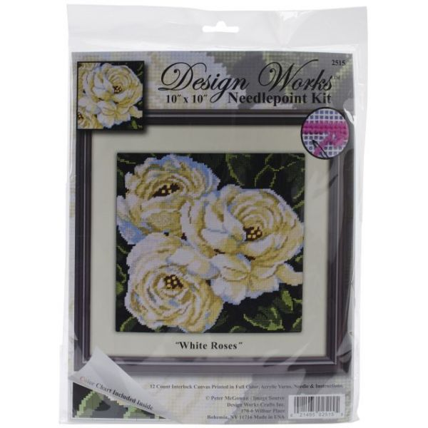 White Roses Needlepoint Kit