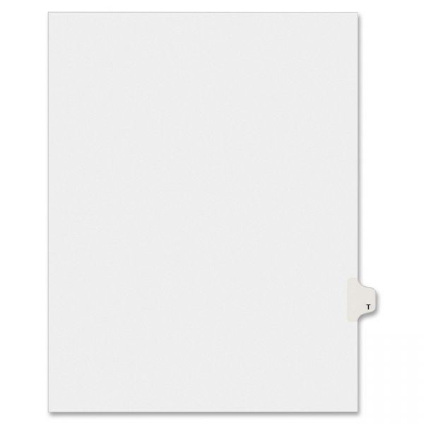 Avery-Style Legal Exhibit Side Tab Dividers, 1-Tab, Title T, Ltr, White, 25/PK