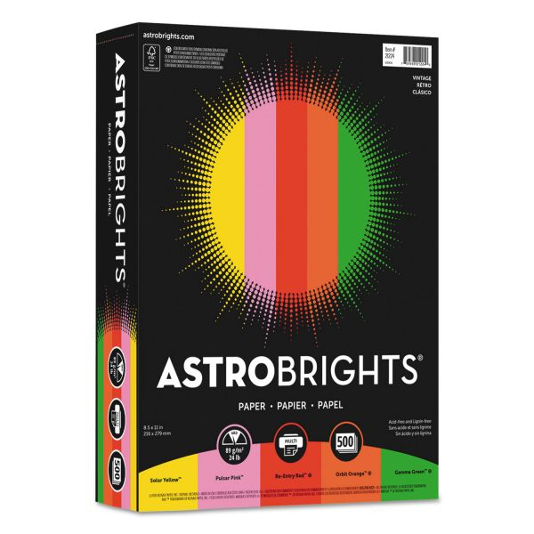 "Astrobrights Color Paper, 24 lb, 8 1/2 x 11, ""Vintage"" Assortment, 500 Sheets/Ream"