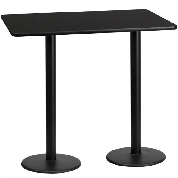 Flash Furniture 30'' x 60'' Rectangular Black Laminate Table Top with 18'' Round Bar Height Table Bases