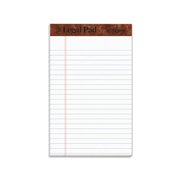 """TOPS """"The Legal Pad"""" Ruled Pads, Narrow, 5 x 8, White, 50 Sheets, Dozen"""