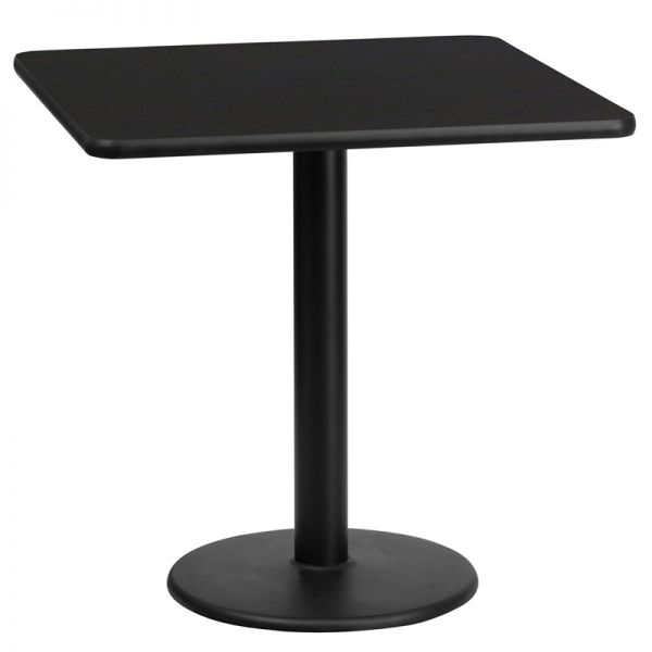Flash Furniture 24'' Square Black Laminate Table Top with 18'' Round Table Height Base