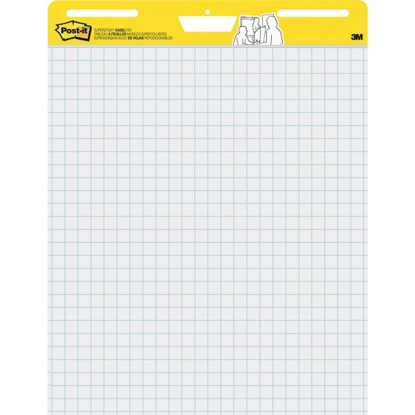 Post-it Easel Pads Self Stick Easel Pads, Quadrille, 25 x 30, White, 2 30 Sheet Pads/Carton