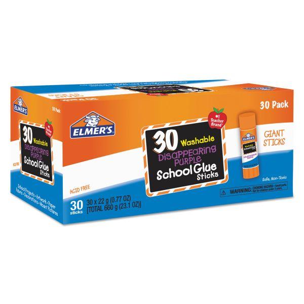 Elmer's Disappearing Purple All Purpose Glue Sticks, Purple/Clear, 30/Box