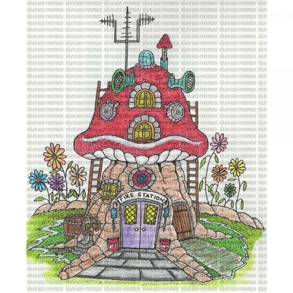 "Riley & Company Mushroom Lane Cling Stamp 3""X4"""