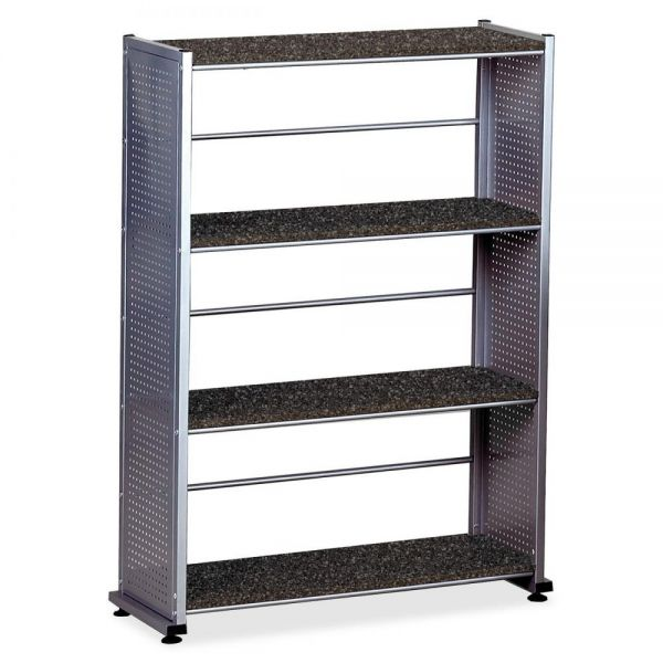 Mayline Eastwinds Accent Shelving, Four-Shelf, 31-1/4w x 11d x 44-1/2h, Anthracite