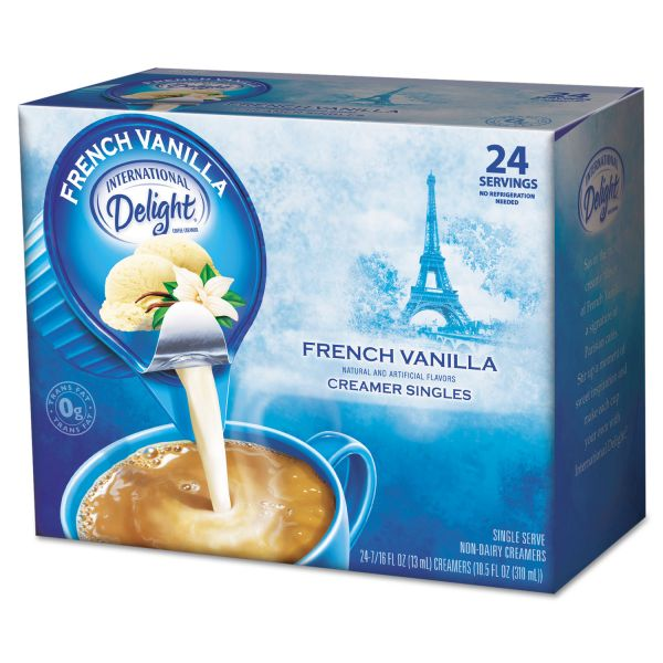 International Delight Flavored Liquid Non-Dairy Coffee Creamer, French Vanilla, 0.4375 oz Cup, 24/Box