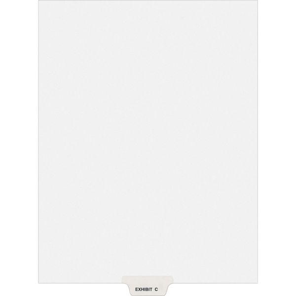 Avery-Style Preprinted Legal Bottom Tab Divider, Exhibit C, Letter, White, 25/PK