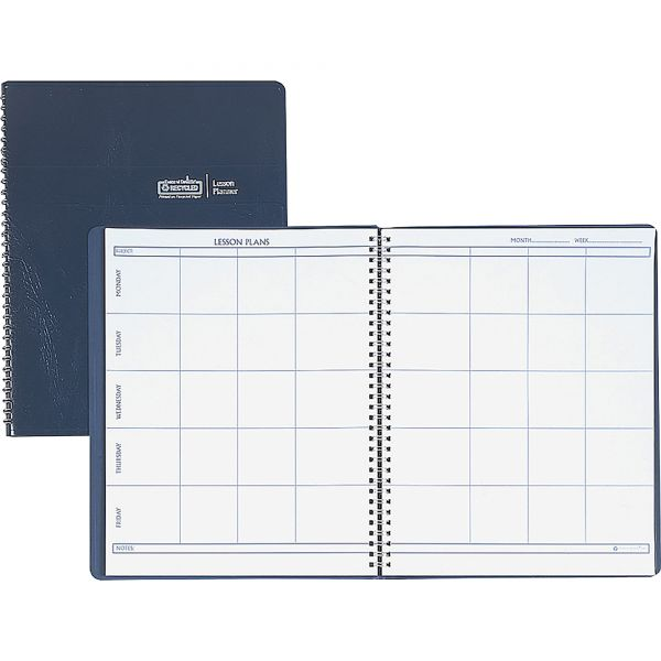 House of Doolittle Lesson Plan Book, Embossed Leather-Like Cover, 11 x 8-1/2, Blue