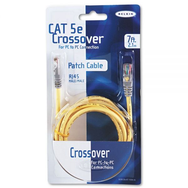 Belkin Cat5e 10/100 Base-T Crossover Patch Cable, 7ft, Yellow
